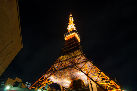 Worm eye view of Tokyo Tower at night, a landmark of Japan