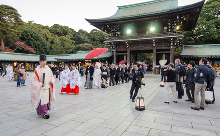 TOKYO,JAPAN-NOV 20  A Japanese wedding ceremony at Shrine on November 20,2013 As Meiji Jingu Shrine is an active shrine it