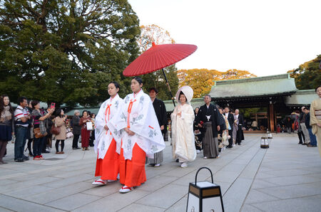 TOKYO,JAPAN-NOV 23  A Japanese wedding ceremony at Shrine on November 23,2013 As Meiji Jingu Shrine is an active shrine it