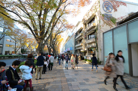 omotesando: TOKYO - NOV 24  People shopping in Omotesando Hills on november 2013,24  Omotesando Hills consists of six floors  three are underground  of about 100 upmarket shops, cafes, restaurants and beauty salons  Editorial