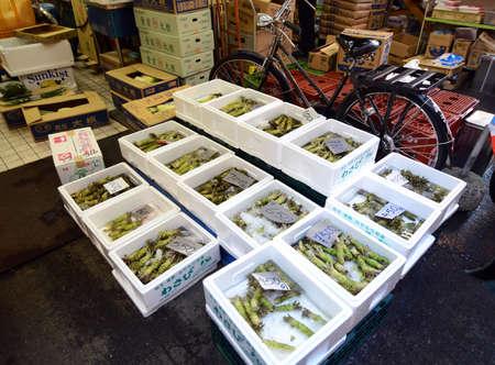 TOKYO, JAPAN- NOV 26, 2013  Tsukiji market is a large market for fish, fruits and vegetables in central Tokyo, Japan  November 26 2013