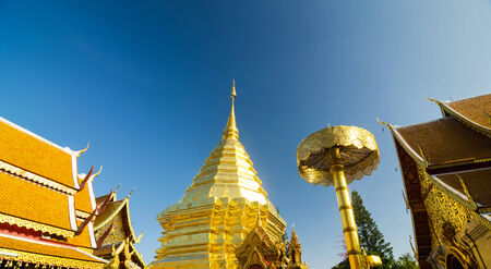 thep: Golden pagoda of Wat Phra Tard Doi Su Thep, The Royal temple of Thailand at Chaing Mai