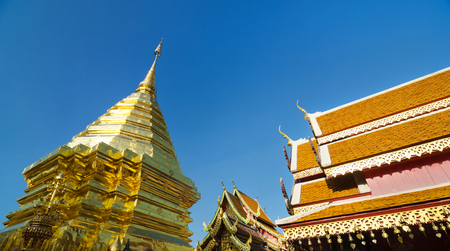 Golden pagoda of Wat Phra Tard Doi Su Thep, The Royal temple of Thailand at Chaing Mai Province photo