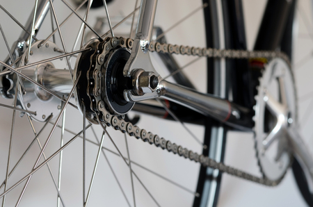 Bike cassette on the wheel with chain  photo