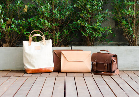 Fashion Leather Bags Collection, Nature Background photo