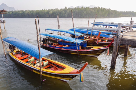 longtail: Traditional Thai Longtail boats at pier, phuket, Thailand