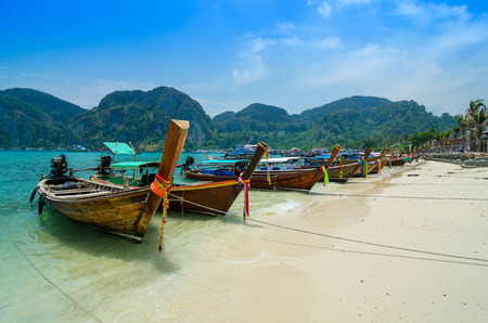 Long Tail Boats at Phi Phi Leh island, Phuket, Thailand  photo