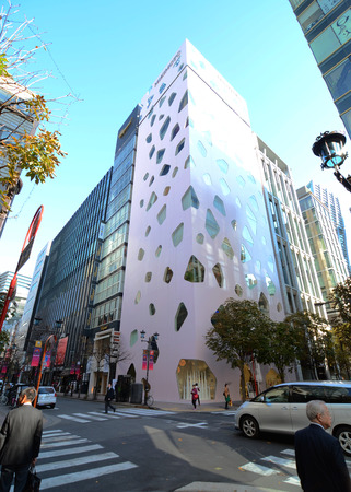 void: GINZA, JAPAN - NOV 26   Modern building in Ginza area on November 26, 2013 in Tokyo  Ginza shopping area  The popular tourist spot in Tokyo