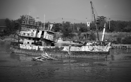 sunk: Sunk Fishing Boat in Black and White tone