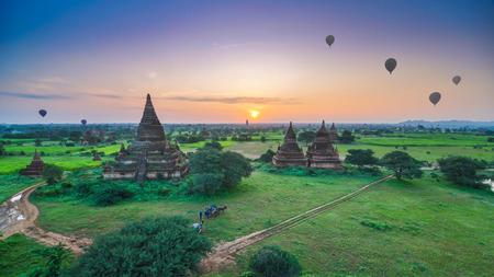 Sunrise at Ancient Temples in Bagan, Myanmar  photo
