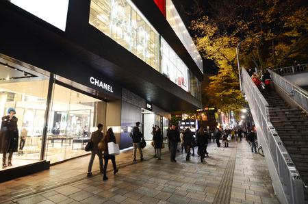 TOKYO - NOV 24  Retail shops on Omotesando Street at night on November 24  2013, Omotesando street sometimes referred to as Tokyo