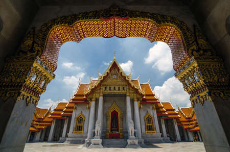 Wat Benjamabophit-The Marble Temple, a buddhist temple in Bangkok, Thailand  photo
