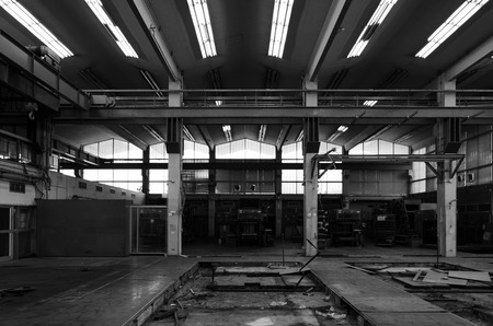 industrial heritage: Interior of Abandon Industry Architecture, Black and White tone Stock Photo