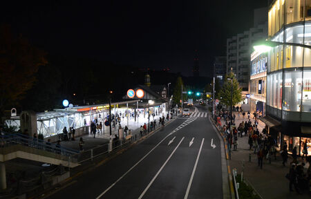 TOKYO - NOV 24  People visit Harajuku Station at night on November 24, 2013 in Tokyo, Japan  Tokyo is the capital city of Japan and the most populous metropolitan area in the world with almost 36 million people