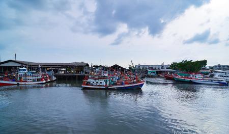 phuket province: Docking Fishing Boats at Phuket Province, Thailand Stock Photo