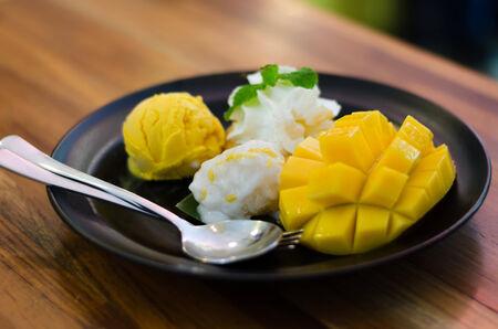 Mango, pudding, mango ice cream with sticky rice, Thai dessert photo