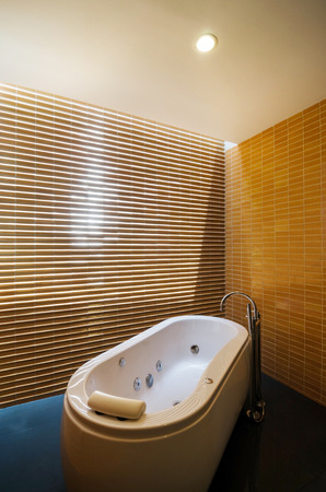 Interior of Elegant bathroom with skylight  photo