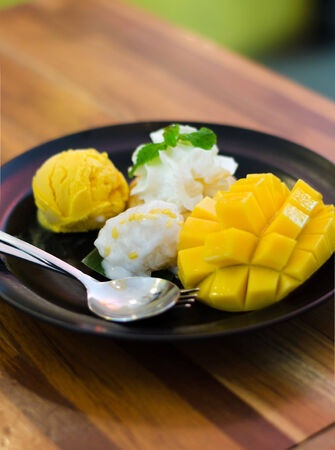 Thai traditional dessert, mango, mango pudding, mango ice cream with sticky rice photo