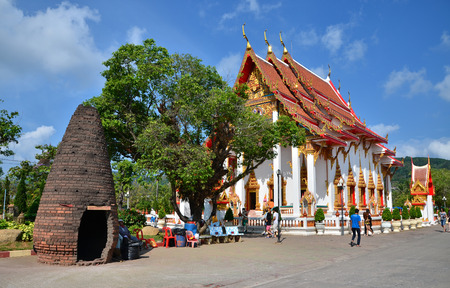 PHUKET, THAILAND - APRIL 15, 2014 : Wat Chaitharam or Wat Charong on April 15, 2014, The temple is one of the most sacred temple in Phuket city. Many buddhist come here for pray to the sacred monks, Phuket , Thailand.