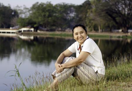 Happy Asian Woman in Public Park, Outdoor photo