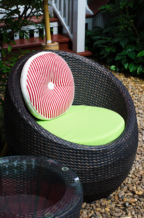Modern chair furniture in a backyard, outdoor photo