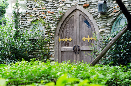 Old wooden door in castle with stone wall photo