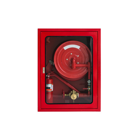 Fire Hose Cabinet on White background photo