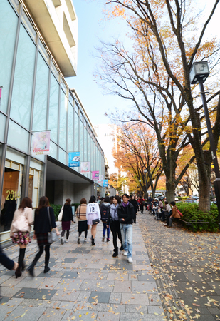 omotesando: Tokyo, Japan - November 24, 2013: People shopping at Omotesando Street on November 23,2013, Omotesando street sometimes referred to as Tokyos Champs-Elysees. Here you can find famous brand name shops, cafes and restaurants for a more adult clientele.  Editorial