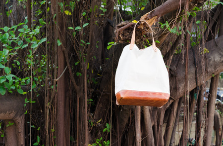 pochette: Fashion Leather Bags  hang on banyan branch, Nature background Stock Photo