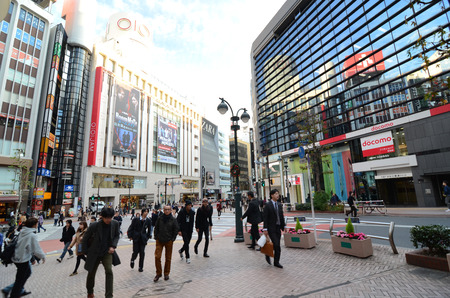 Tokyo, Japan - November 28,2013: Tourist visit shibuya district, Shibuya is known as a youth fashion center in Japan as well as being a major nightlife destination November 28, 2013 in Tokyo, Japan.
