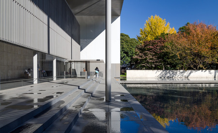 Tokyo, Japan - November 22, 2013: People visit The Gallery of Horyuji Treasures on November 22, 2013 in Tokyo, Japan, one of the museum buildings in the Tokyo National Museum complex, is surrounded by nature and cultural assets.