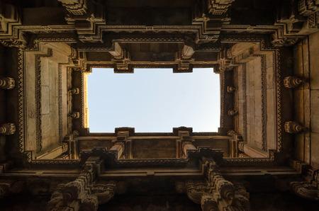 toran: Perspective View of Adalaj Stepwell in Ahmedabad, Gujarat, India