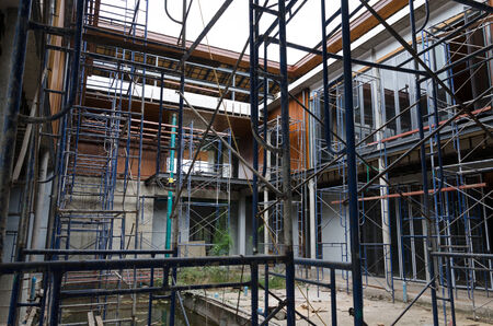 sand lime bricks: Scaffolding in construction site, residential