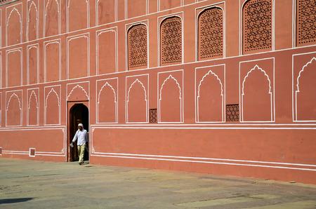 maharaja: Jaipur, India - December 29, 2014: Indian man at The City Palace complex on December 29, 2014 in Jaipur, India . It was the seat of the Maharaja of Jaipur, the head of the Kachwaha Rajput clan.