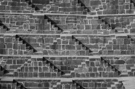 dausa: Steps at Chand Baori Stepwell in the village of Abhaneri, Rajasthan, India. (Black and White)
