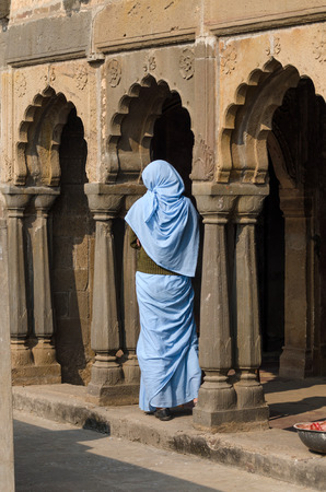 dausa: Indian woman at Chand Baori Stepwell in Jaipur, Rajasthan, India.