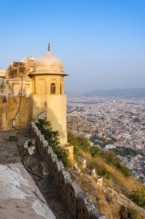 Nahargarh fort and wiew to Jaipur city, Rajasthan, India photo