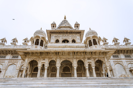 ornately: Jaswant Thada. Ornately carved white marble tomb of the former rulers of Jodhpur, Rajasthan, India