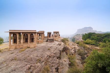 Jaswant Thada mausoleum with mehrangarh fort in the background, Jodhpur, India photo