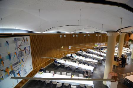 abbreviated: Tokyo, Japan - November 22, 2013: Students at canteen in University of Tokyo, abbreviated as Todai is a research university located in Bunkyo, Tokyo, Japan November 22, 2013