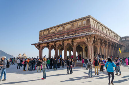 Jaipur, India - December29, 2014: Tourist visit Diwan-I-Am in Amber Fort near Jaipur, Rajasthan, India on December29, 2014. The Fort was built by Raja Man Singh I.
