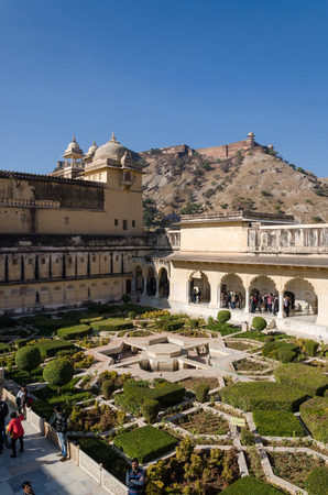 3rd ancient: Jaipur, India - December29, 2014: Tourist visit Sukh Niwas the Third Courtyard in Amber Fort near Jaipur, Rajasthan, India on December29, 2014. The third courtyard is where the private quarters of the Maharaja, his family and attendants were built. Editorial