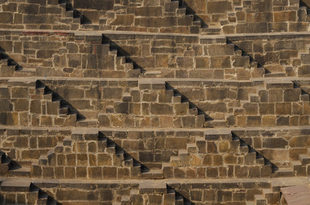 dausa: Steps at Chand Baori Stepwell in the village of Abhaneri, Rajasthan, India.