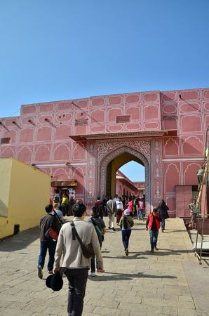 rajput: Jaipur, India - December 29, 2014: People visit The City Palace complex on December 29, 2014 in Jaipur, India. It was the seat of the Maharaja of Jaipur, the head of the Kachwaha Rajput clan.