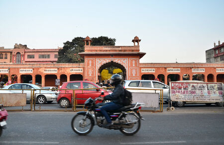 Jaipur, India - December 29, 2014: People visit Streets of Indra Bazar in Jaipur, Rajasthan, in India, as seen on December 29, 2014. Jaipur, known as the Pink City, is a major tourist destination in India.