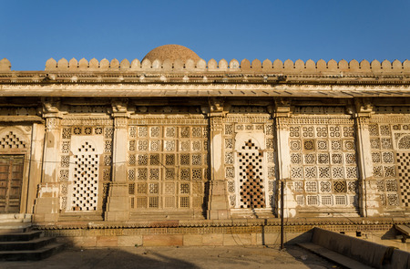 Facade of Sarkhej Roza mosque in Ahmedabad, Gujarat, India photo