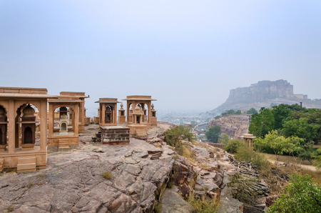 Jaswant Thada mausoleum with mehrangarh fort, Jodhpur, India
