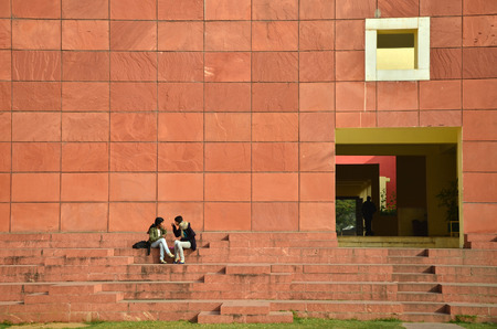 Jaipur, India - January 31, 2014: Indian People visit Jawahar Kala Kendra on January 31, 2014. Jawahar Kala Kendra (JKK) is a multi arts centre located in Jaipur in India. It was built by Rajasthan government.