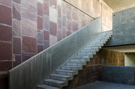 exposed concrete: Exposed concrete staircase in modern building Stock Photo