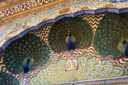 Peacock Gate at the Chandra Mahal, Jaipur City Palace, Jaipur, Rajasthan, India.